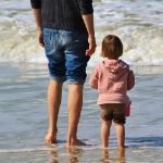 Father&daughter on beach