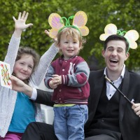 No Repro Fee 7/05/2015 Magician Brian Daly with the help of seven year old Evie Kenny and her two year old brother Frank from Cabra prepare for the annual Family Day Festival, presented by One Family, which celebrates the diversity of families in Ireland today. The Festival is on Sunday 17 May with free festive fun for all ages from 11am to 5pm in Wolfe Tone Square, Jervis Street, Dublin 1. Programme information can be found on www.familyday.ie. Photo: Peter Houlihan For more information contact: Shirley Chance 087 414 8511 Director of Communications, One Family Cherish House, 2 Lower Pembroke Street, Dublin 2, Ireland T: 01 662 9212